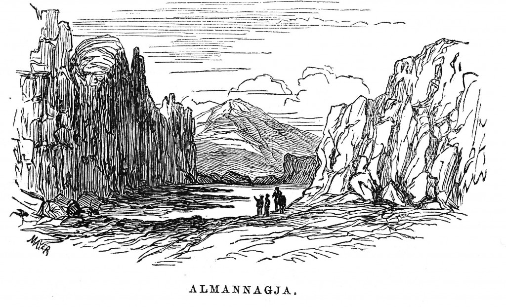 Almannagja, 1862, sketch by A. J. Symington